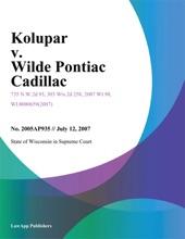 Kolupar v. Wilde Pontiac Cadillac