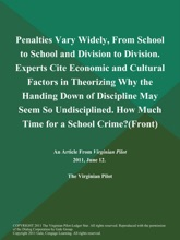 Penalties Vary Widely, From School to School and Division to Division. Experts Cite Economic and Cultural Factors in Theorizing Why the Handing Down of Discipline May Seem So Undisciplined. How Much Time for a School Crime? (Front)