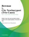 Bowman V City Newburyport Two Cases