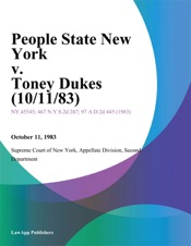 Download and Read Online People State New York v. Toney Dukes