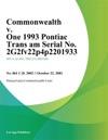 Commonwealth V One 1993 Pontiac Trans Am Serial No 2G2fv22p4p2201933