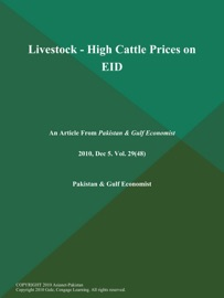 Livestock High Cattle Prices On Eid
