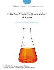 Download Friday Paper Presentations (Georgia Academy of Science)