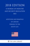Additions And Removals Of Certain Persons To The Entity List US Bureau Of Industry And Security Regulation BIS 2018 Edition