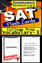 SAT Test Prep College Prep Vocabulary 3 Review--Exambusters Flash Cards--Workbook 3 of 9