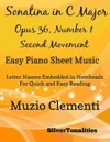 Sonatina In C Major Opus 36 Number 1 Second Movement Easy Piano Sheet Music