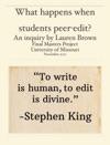 What Happens When Students Peer-edit