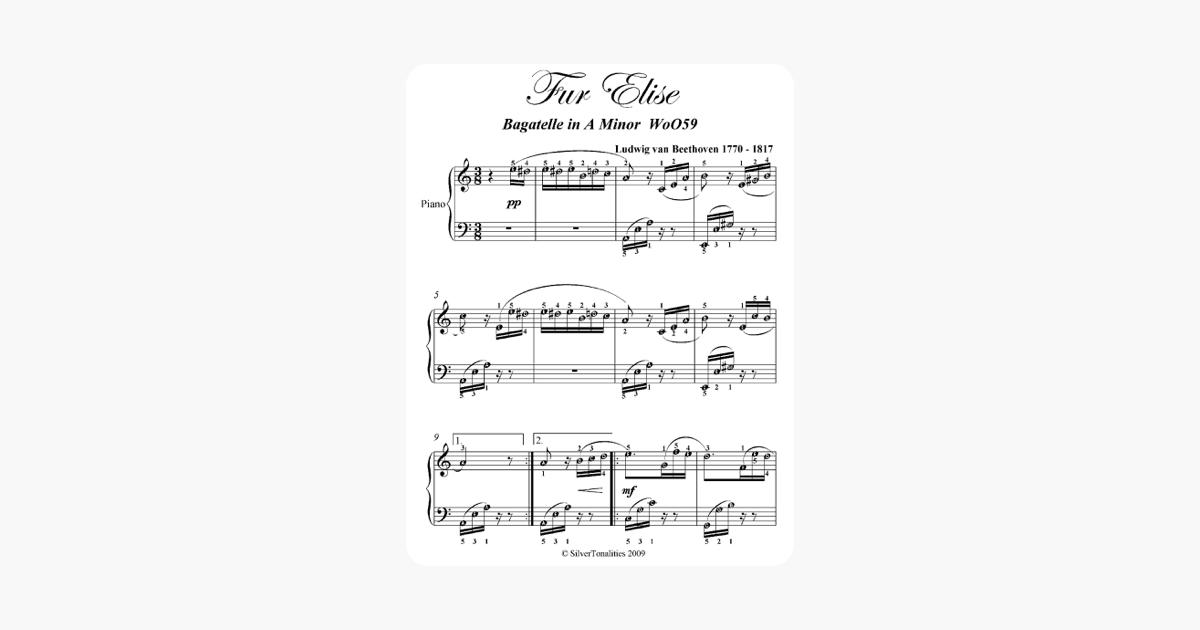 Fur Elise Beethoven Elementary Piano Sheet Music