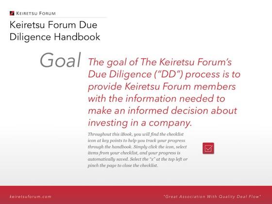Keiretsu Forum: Due Diligence Handbook on Apple Books