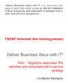TOGAF Unlocked The Missing Pieces Deliver Business Value With IT - Run - Aligned To Described ITIL Activities And Processes With A Service Strategy