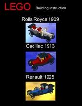 LEGO Rolls Royce 1909, Cadillac 1913 and Renault 1925