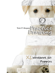 Practice Drawing - XL Workbook 10: Puppies Book Cover
