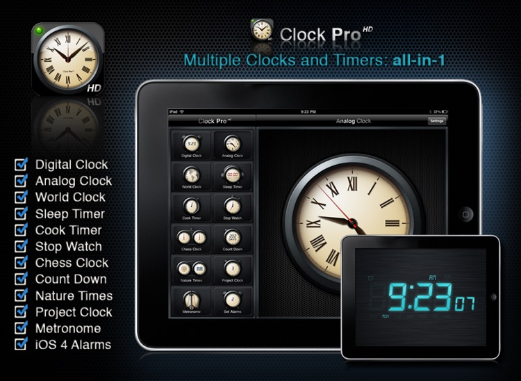 Clock Pro HD Free screenshot-0