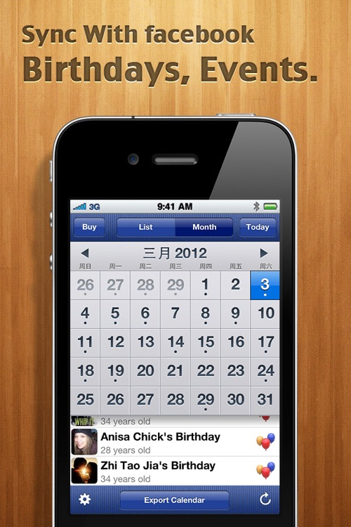 Calendar for Facebook screenshot-0