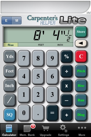 Carpenter's Helper Lite - Free Construction Calculator screenshot-0