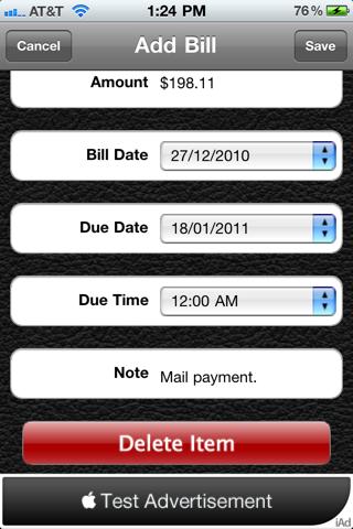 Bill Manager HD Lite screenshot three