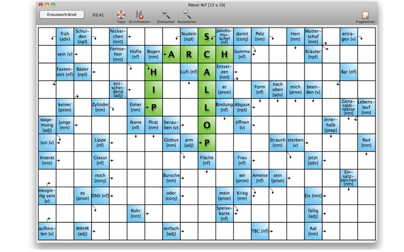 Englisch lernen mit Kreuzworträtseln for Mac