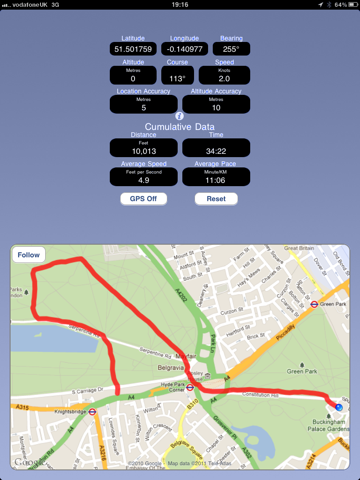 Cycling GPS screenshot