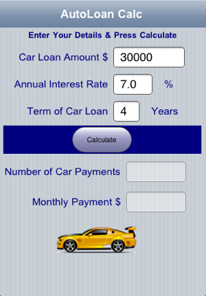 Car Payment On 30000 >> Auto Loan Calc On The App Store