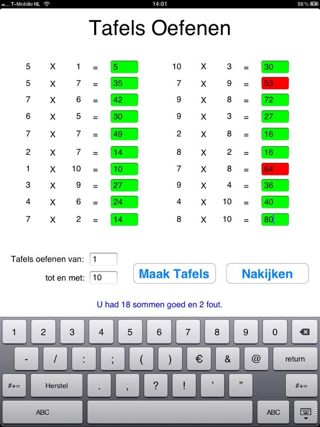 Tafels Screenshot