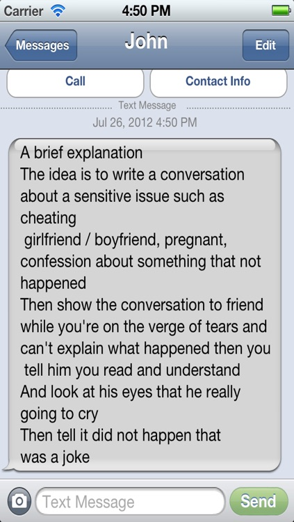 Fake Conversation - Text Messages