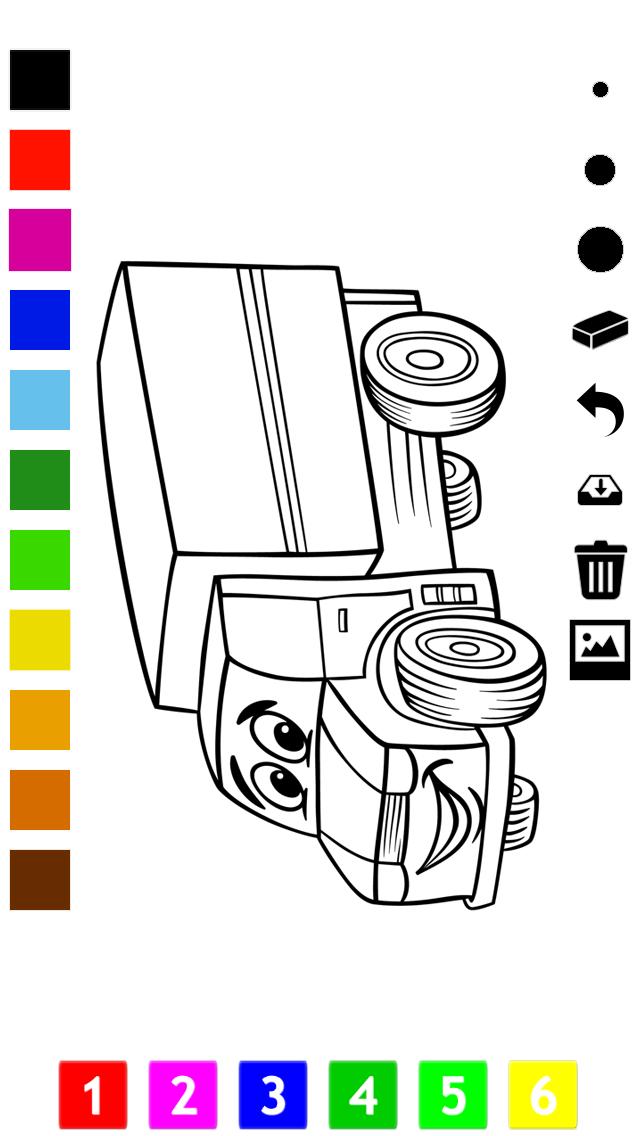 塗り絵の本 子供のための車:レーシングカー、バス、トラクター、トラックなどのような多くの写真とともに。絵を描画する方法:学習するゲームのおすすめ画像5