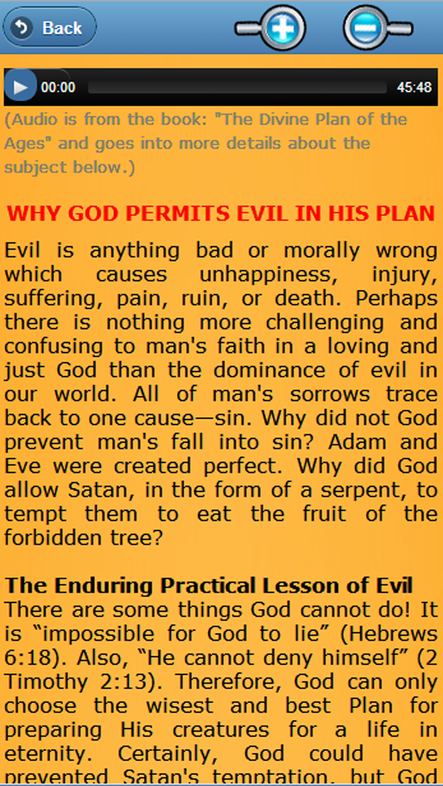 download Free Bible Study - God's Plan for People - Divine Plan - Audio Bible Study, Why God permits Evil apps 0