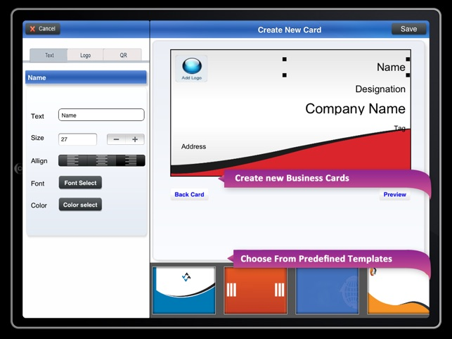 Bcm business card maker on the app store ipad screenshots reheart Choice Image