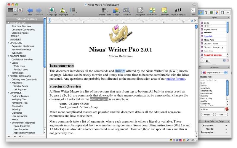 Nisus Writer Pro Screenshots
