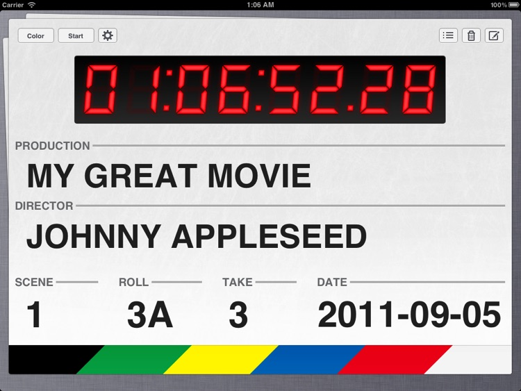 Take One - Movie Clapperboard for iPad