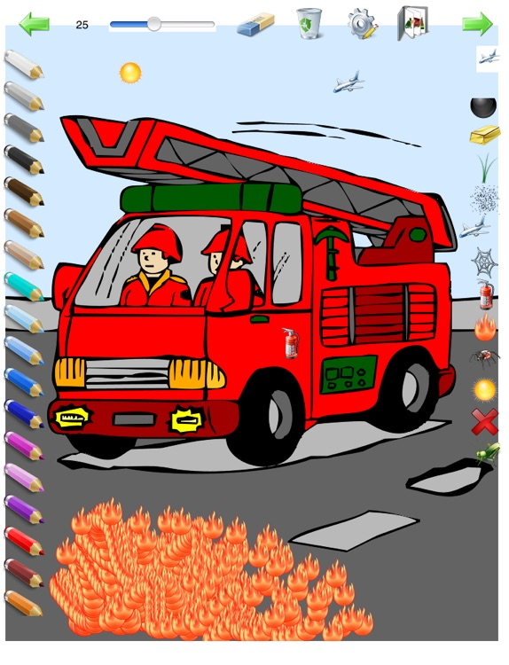 Coloring Book for Boys for iPad with colored pencils - 36 drawings to color with dragons, pirates, cars, and more - HD screenshot-4