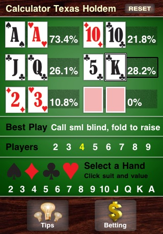 Calculator Texas Holdem Скриншоты4