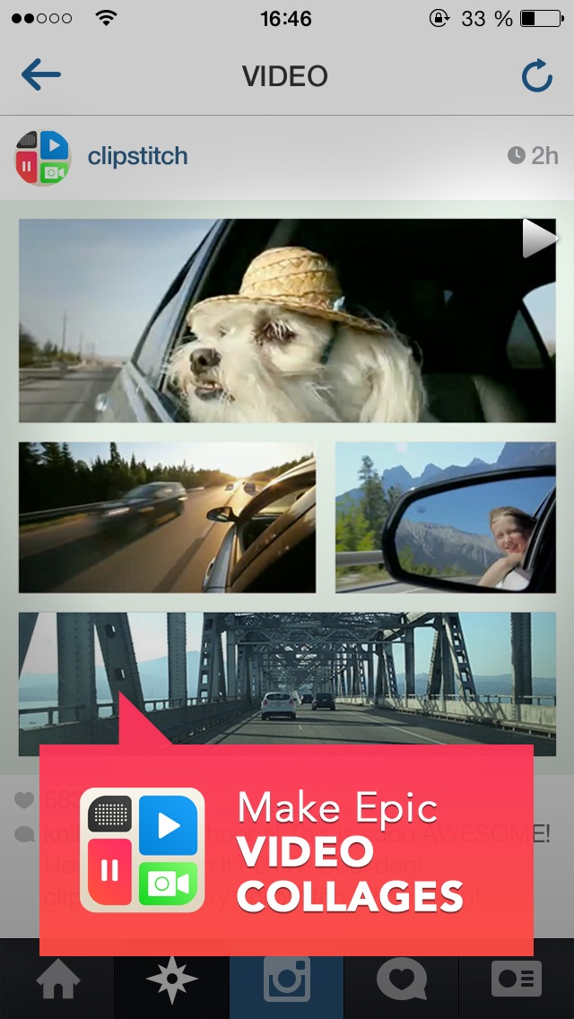 ClipStitch video collage - stitch video and pic together on a clip photo collage with frames Screenshot