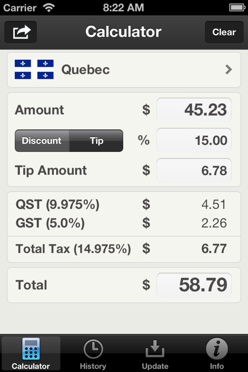 Canadian Sales Tax Calculator Plus screenshot-0