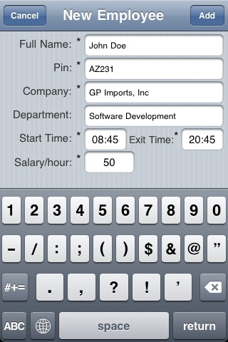 Screenshot of Employee Time Tracking (Clock IN/Clock OUT)