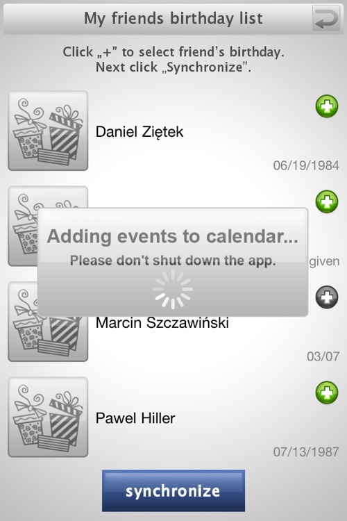 Birthday sync PLUS for Facebook screenshot-3