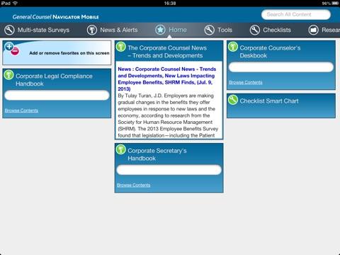 Screenshot of General Counsel Navigator Mobile (GCN Mobile)