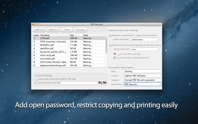 Security settings pdf