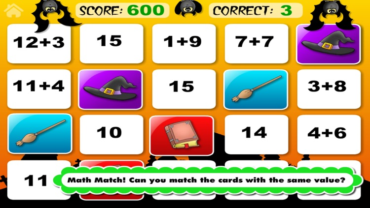 Adventure Basic School Math  · Math Drills Challenge and Halloween Math Bingo Learning Games (Numbers, Addition, Subtraction, Multiplication and Division) for Kids: Preschool, Kindergarten, Grade 1, 2, 3 and 4 by Abby Monkey® screenshot-4