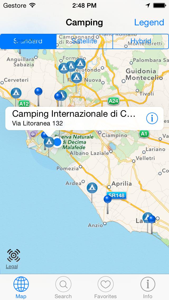 Camping Guide Italy & Europe 2014 i3F screenshot one