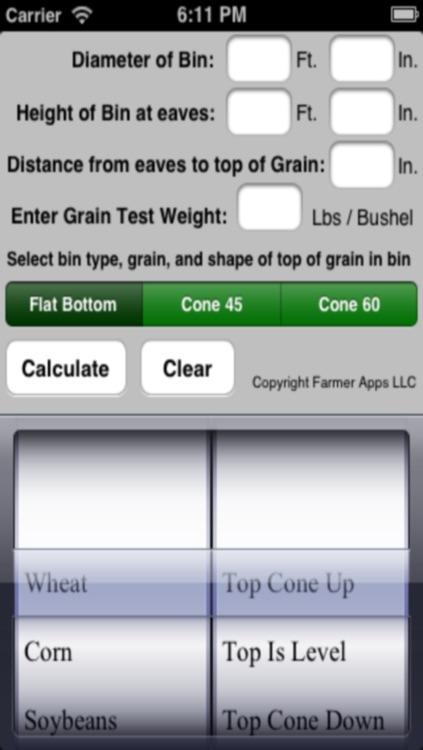 Grain Bin Contents Calculator