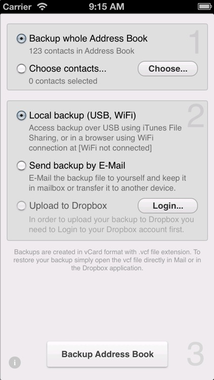Contacts Backup to Dropbox Lite screenshot-4