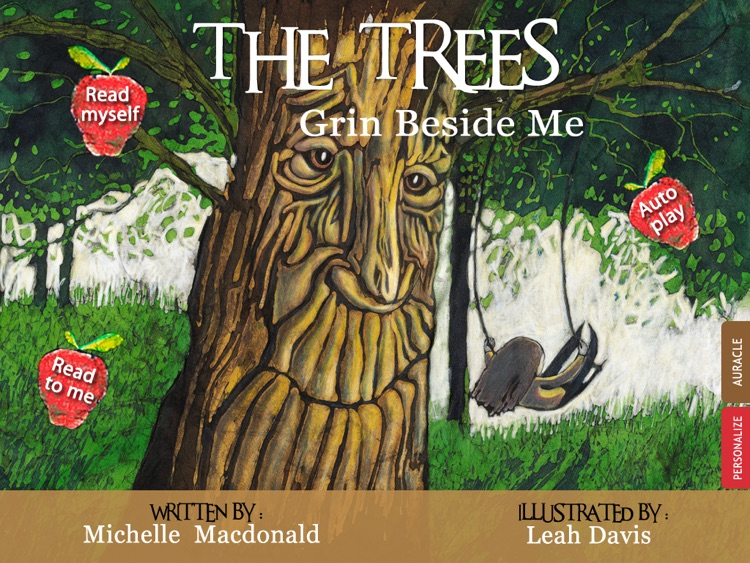 """The Trees Grin Beside Me: Learn about the beauty of nature in this poetic book written by Michelle Macdonald and  illustrated by Leah Davis (""""Lite""""/ free version; an Auryn App)"""