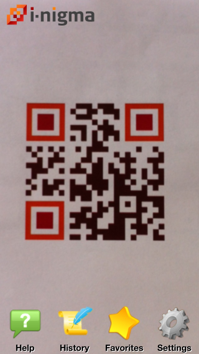 i-nigma QR Code, Data Matrix and 1D barcode reader Screenshot on iOS
