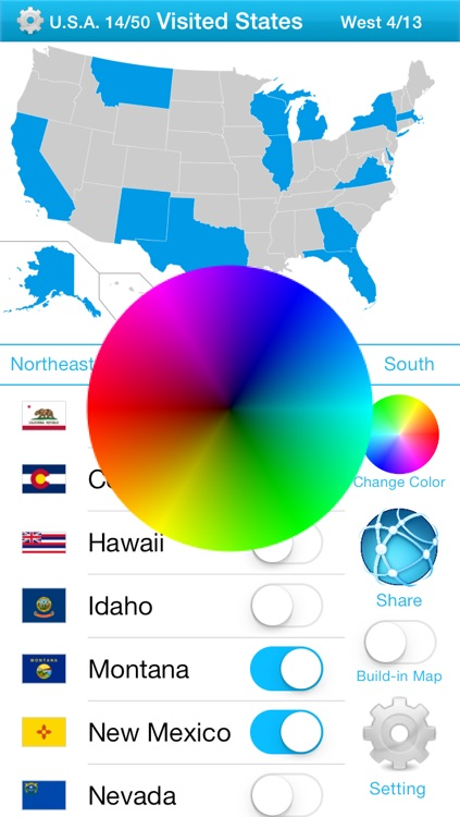 Visited States Map - USA Travel Log for Where You've Been screenshot-3