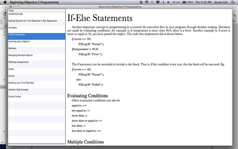 Xcode C Code Example