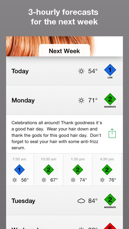 Hair Alert+ - your hair weather forecast for frizzy, curly or straight hair screenshot-2