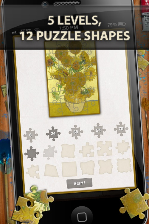 Vincent Van Gogh Jigsaw Puzzles  - Play with Paintings. Prominent Masterpieces to recognize and put together