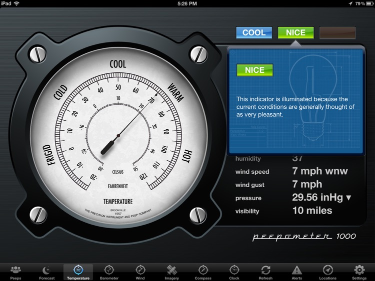 Peepometer - a Retro Weather App by swackett screenshot-4