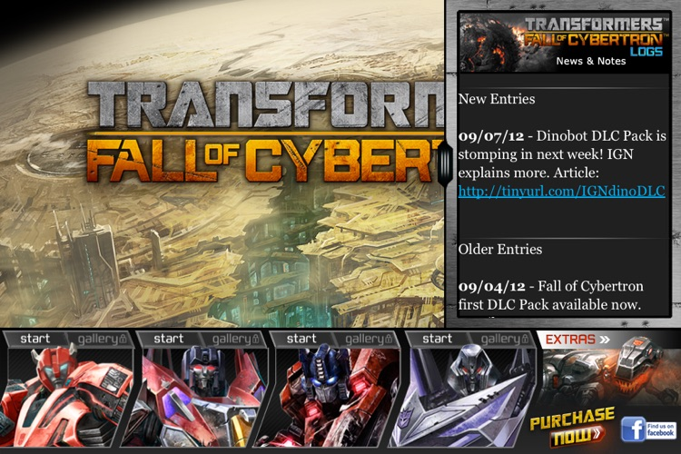 Transformers Fall of Cybertron Logs